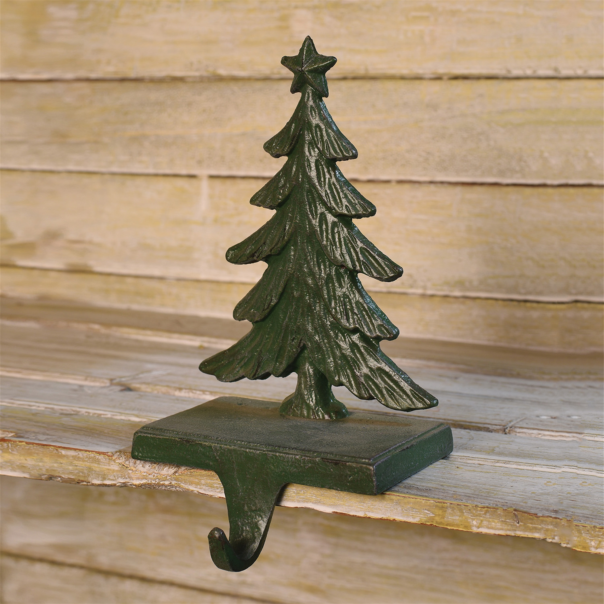 21096-3 - Christmas Tree Stocking Holder - Cast Iron - Antique Green by HomArt