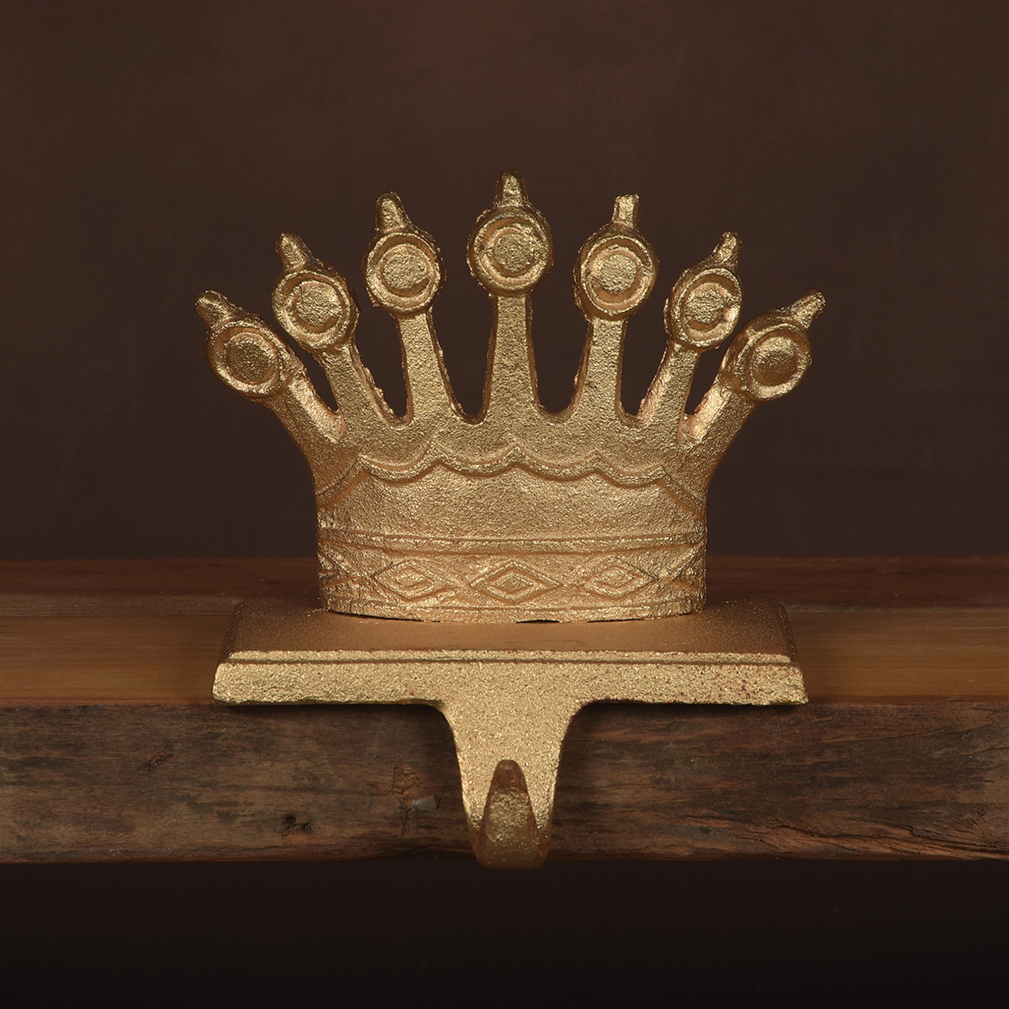 21101-4 - Queen Crown Stocking Holder - Cast Iron - Gold by HomArt