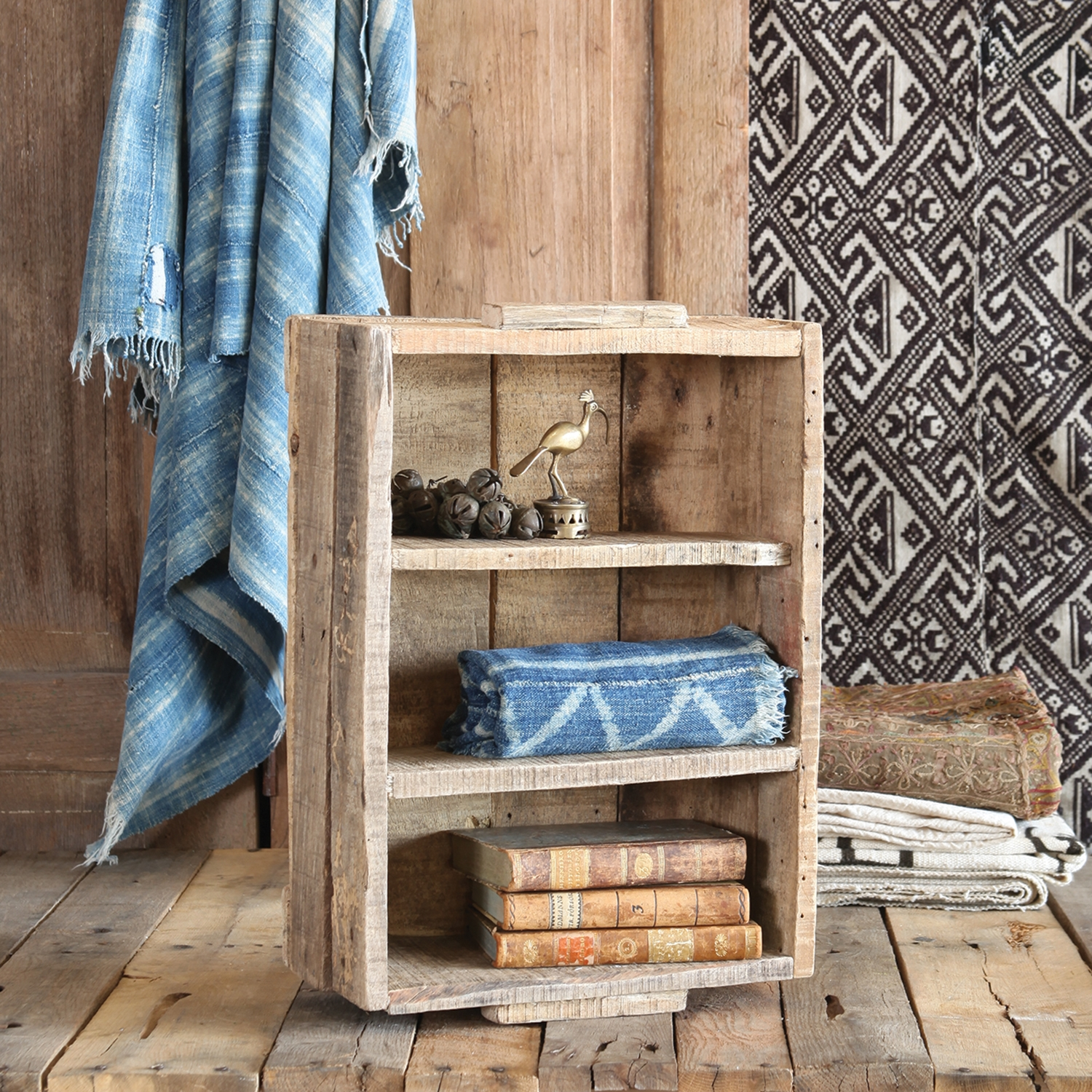 2741-0 - Market Salvaged Wood Crate with Dividers - Vertical - Natural by HomArt