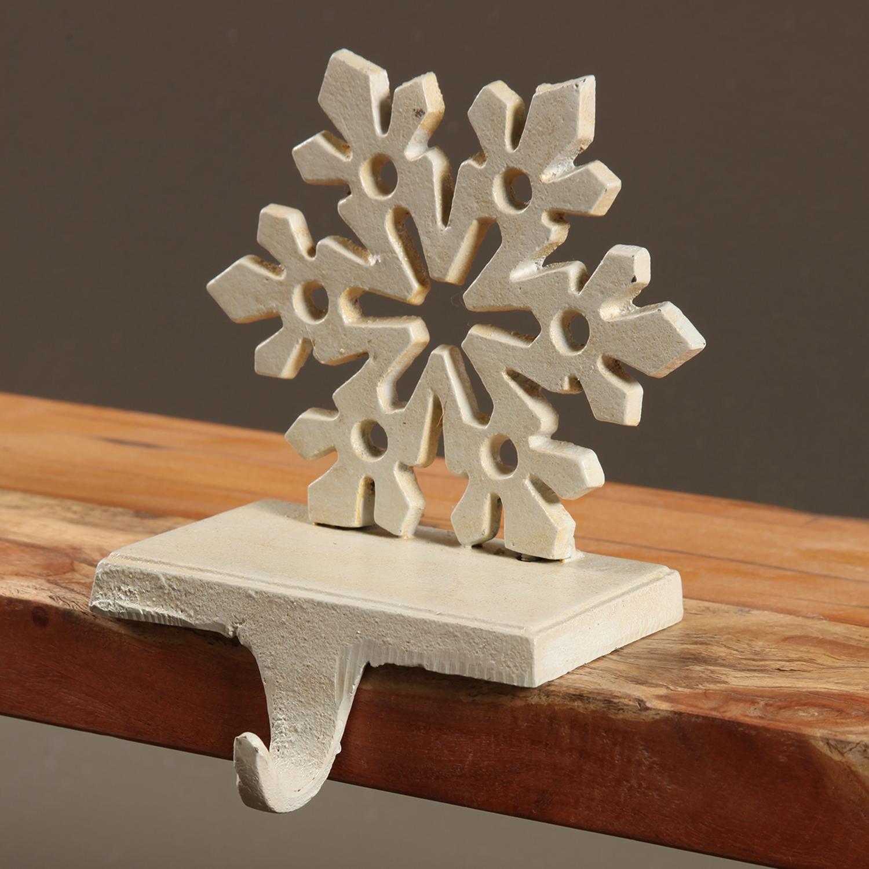3172-6 - Snowflake Stocking Holder - Cast Iron - Antique White by HomArt