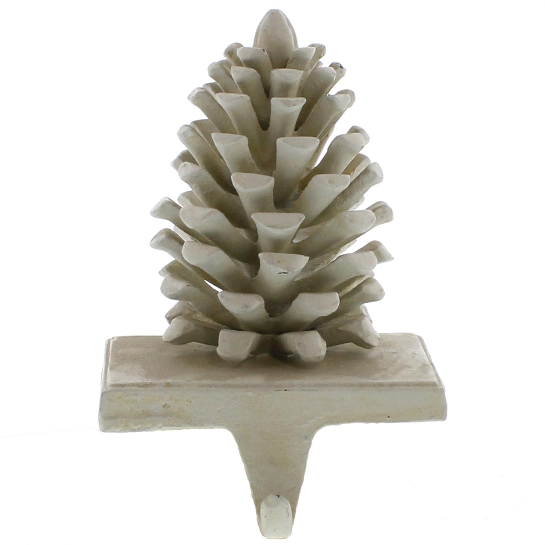 3173-6 - Pinecone Stocking Holder - Cast Iron - White by HomArt
