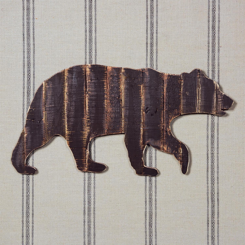 33008-13-Wood Slat Bear Wall Art - Antiqued Dark Brown by Homart