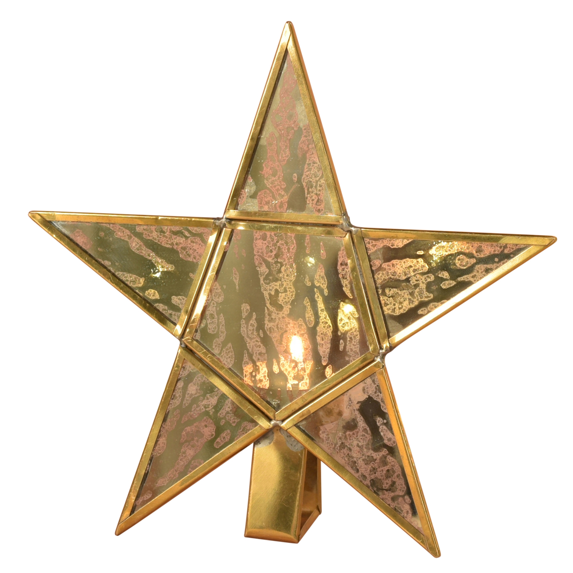 4367-14 - Antique Mirrored Star Tealight Holders - Glass & Brass - Large by HomArt