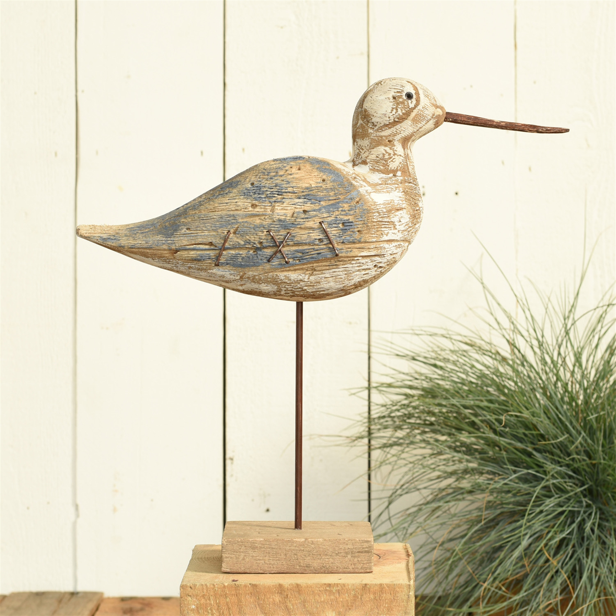 4756-0- Kelso Wood Seagull - Sandpiper - Navy & Natural Wood by HomArt