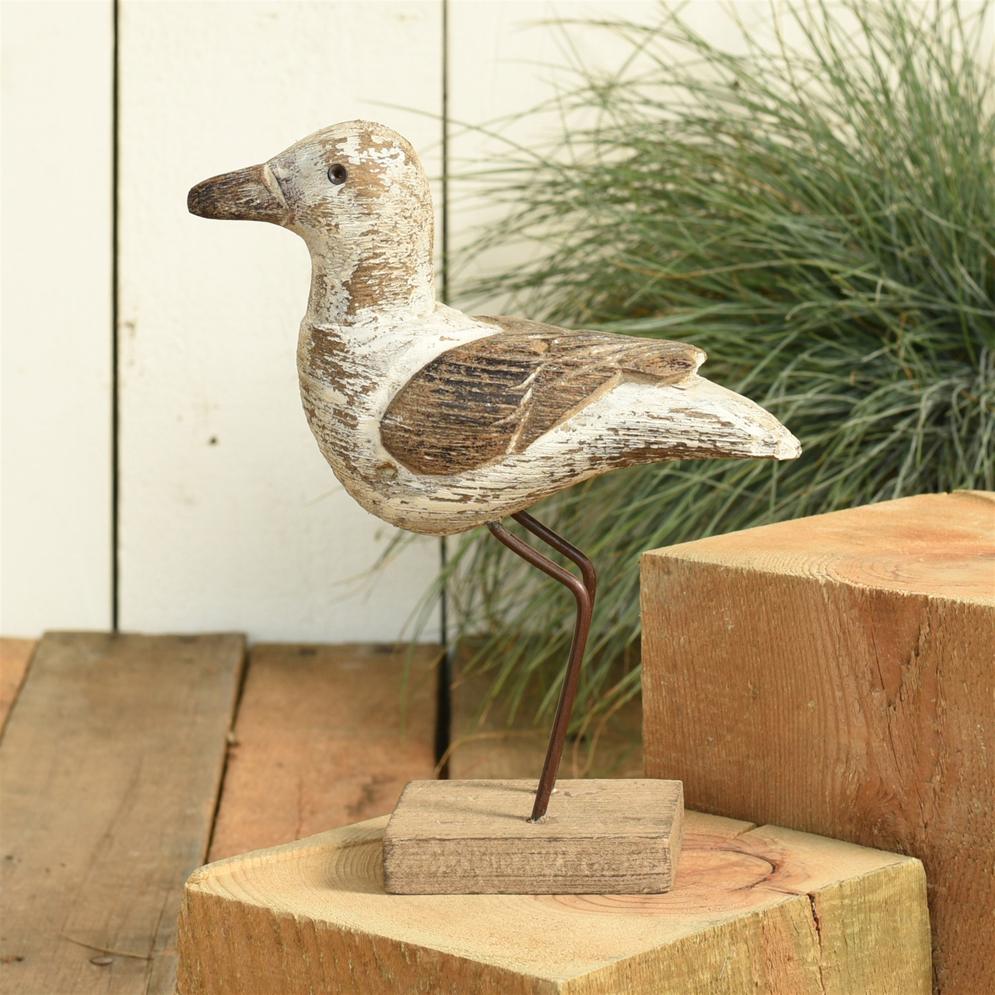 4774-0- Kelso Wood Seagull - White & Natural Wood - Large by HomArt