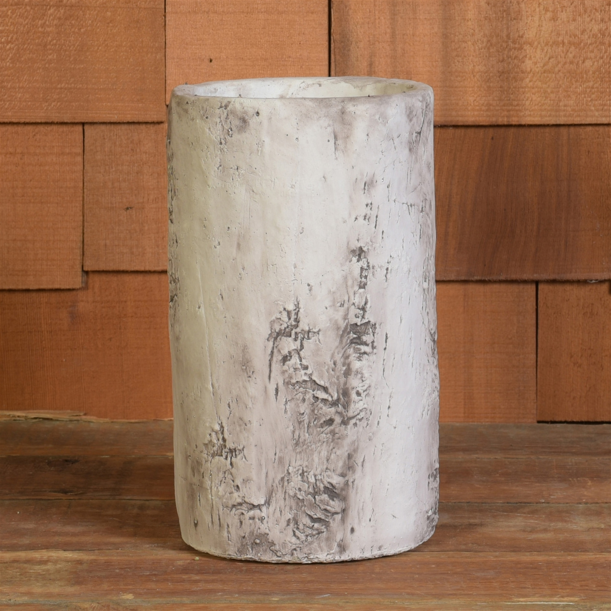 4839-6 - Set of 2 - Faux Birch Vase - Cement - White by HomArt