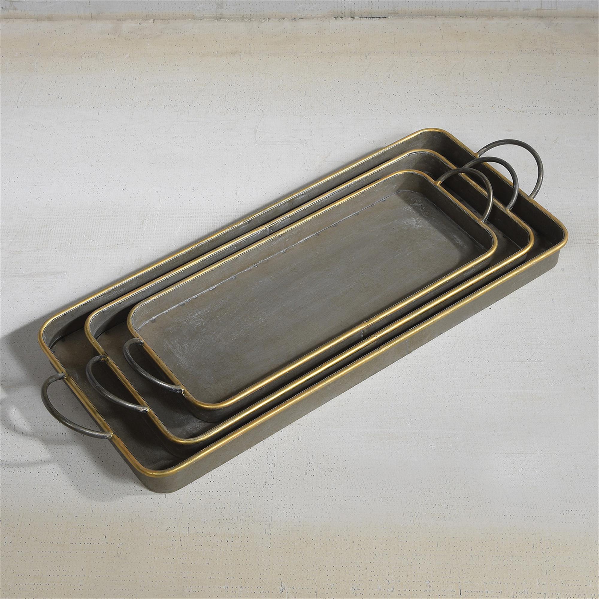 50010-54 - Archer Galvanized Trays - Set of 3 - Galvanized with Gold Rim by HomArt