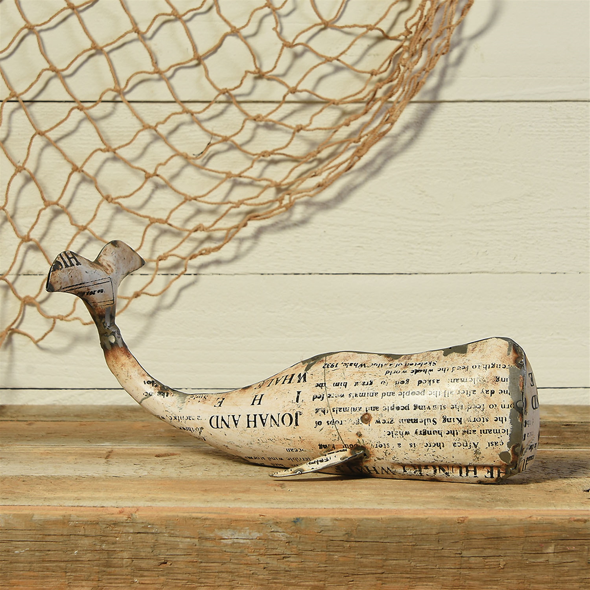 5565-6-White Metal Whale - Large - White by HomArt