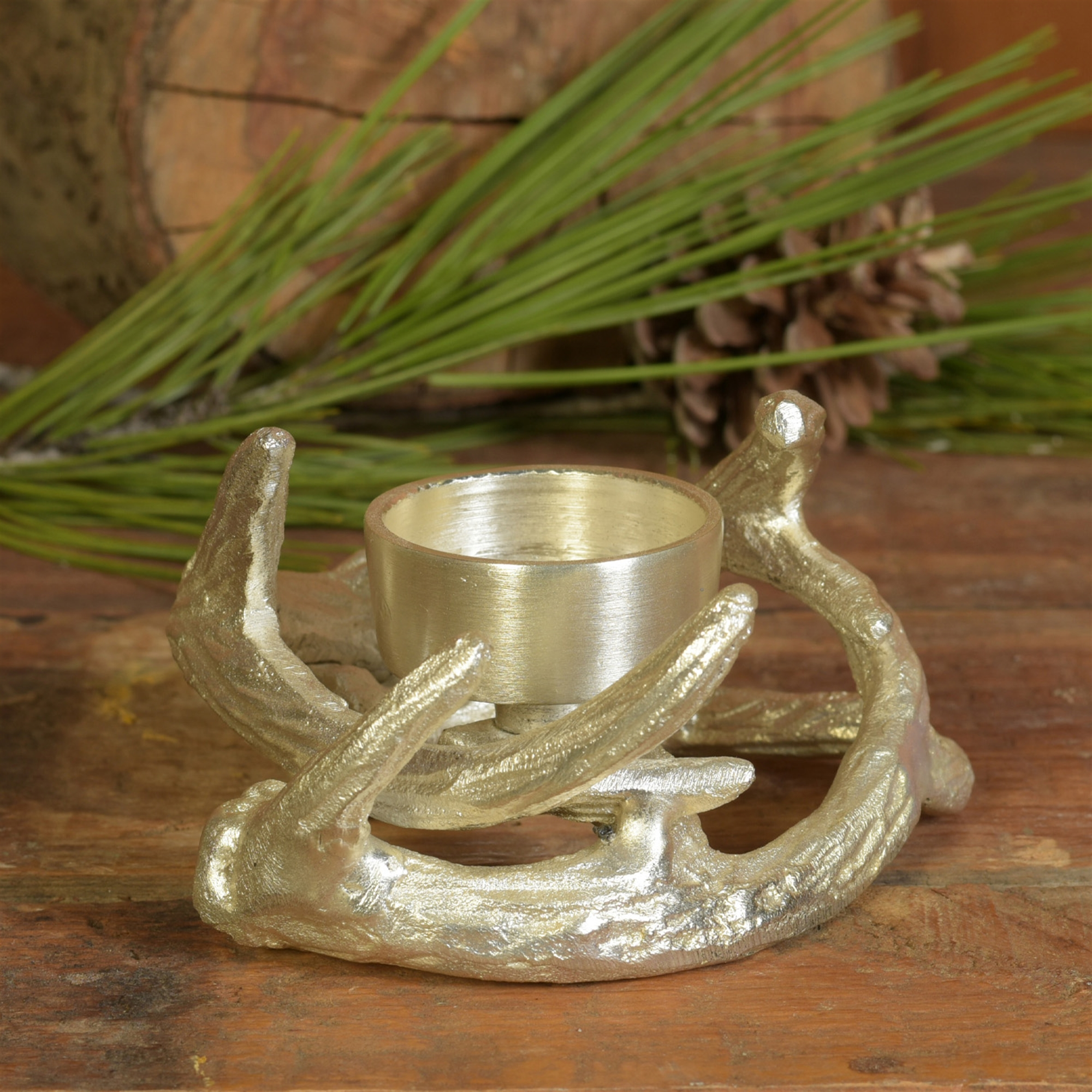 8789-18 - Set of 2 - Antler Tealight Holder - Nickel by HomArt