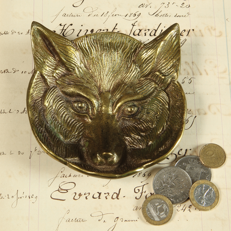 8810-14 - Fox Cast Metal Dish - Antique Brass by HomArt